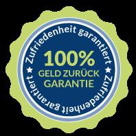 Zufriedenheit garantiert - 100% Geld zurück Garantie